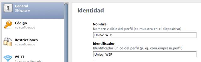 Configurar el Wifi de UNIOVI en iOS (1)