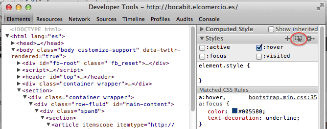 Editar hover en inspector de chrome