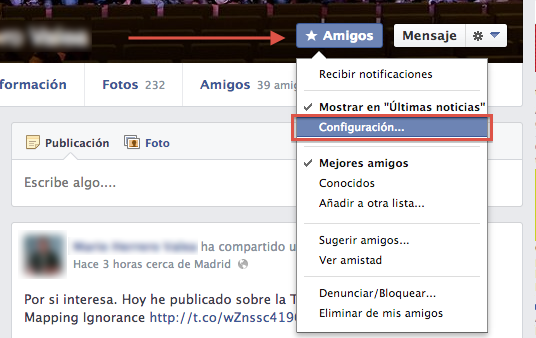 Ocultar publicaciones de Facebook
