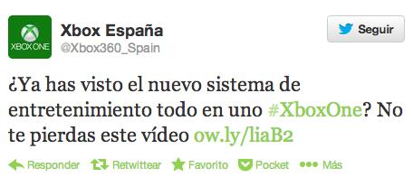 Tweet de Xbox One