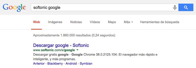 """Si buscas """"softonic google"""" en Google, te ofrece descargar Google."""