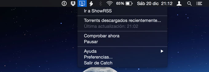 Barra de tareas de Mac con Catch RSS