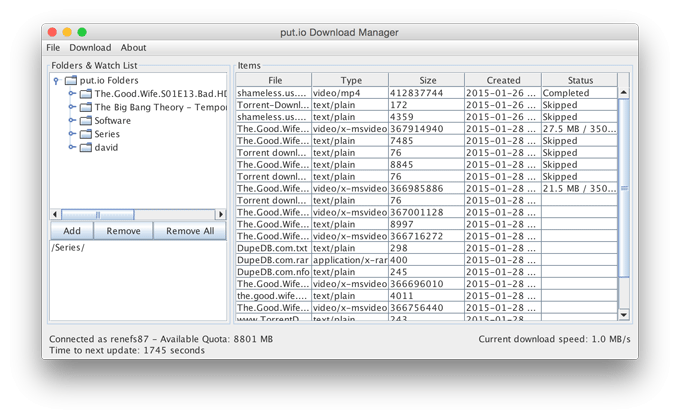put.io Download Manager